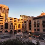 Nelson Mandela Square in Sandton with the Raphael Hotel on the left