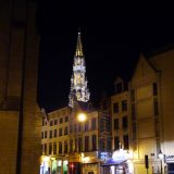 The Town Hall spire at night.