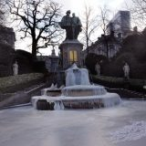A frozen fountain during the recent European cold spell.