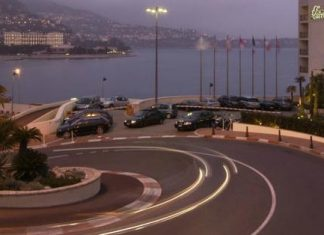 The Formula 1 famed Fairmont hairpin turn in Monaco, France.