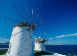 Windmills on Mykonos Island, Greece.