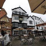 Outdoor cafe in Exeter in Devon, England's southwesternmost county.