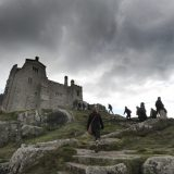 The trail leading to St. Michael's Mount castle in Cornwall.