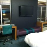 Modern furniture and amenities are standard at Aloft Hotel in downtown Tallahassee.