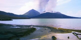 Simpson Harbour and Mt. Tavurvur, as seen during the Papua New Guinea Expedition with Orion Expeditions.