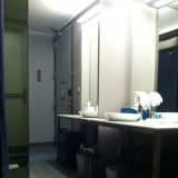 The restroom and vanity area at Aloft Hotel in downtown Tallahassee.