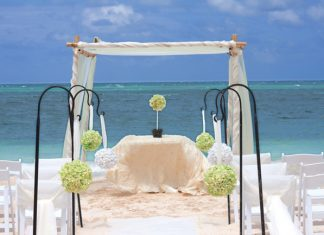 Beachside wedding at a Paradisus resort.