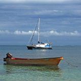 Sailboats and fishing skiffs are common on Fiji's Mana Island.