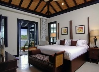 The master bedroom of the Marina Suite at Scrub Island Resort, Spa & Marina in the BVIs.
