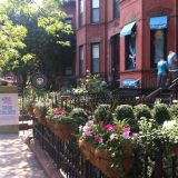 Along Newbury Street, with its myriad shopping opportunities.