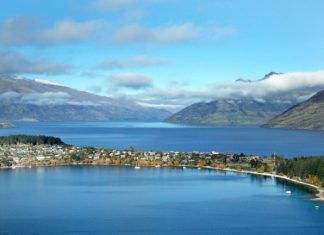 Queenstown as seen from a nearby mountaintop.