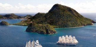 Star Clippers' Royal Clipper ship sailing along Iles des Saintes in the Caribbean.