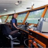 Kendra Nelsen, captain of Safari Endeavour, is one of the few female cruise ship captains. She has long experience sailing Alaskan waters.