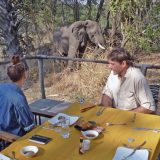 Elephants and other wild game are frequent visitors to Palahala Camp to the delight of guests who enjoy their presence.