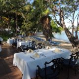 Outdoor dining at the iconic Sea Grape Terrace.
