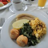 A Jamaican breakfast of ackee and codfish.