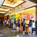 The lobby of Aulani, A Disney Resort & Spa is decorated with digital photographs taken by local children under the direction of Disney image masters who chose the best images for display.