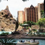 The lagoon at Aulani, A Disney Resort & Spa faces a lava formation designed by Disney Imageneering experts. The rock formation reveals images of animals as the light changes throughout the day.