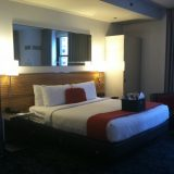 A big cozy bed and plenty of open space in our suite at the Hard Rock Chicago.