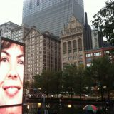 Millennium Park's Crown Fountain features two 50-ft.-tall glass and steel towers, each displaying a new Chicagoan face every five minutes. The faces blink, smile, purse their lips and spout out water fountains at each other.