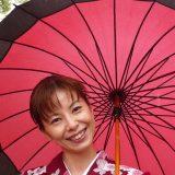 Kimono-clad Japanese girl in Yuifin, a historic city in Kyushu.
