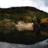 """Yufuin-onsen, known as """"Bungo Fuji"""" is a hot spring hotel on the shore of Lake Kinrin-ko in Yuifin. It has a great atmosphere and hot and cold water natural springs. There are a number of galleries, cafes and restaurants and, of coiurse, a wide choice of bathing options."""