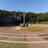 A stone monolith marks the hypocenter of where atomic bomb exploded in August 1945 over Nagasaki.