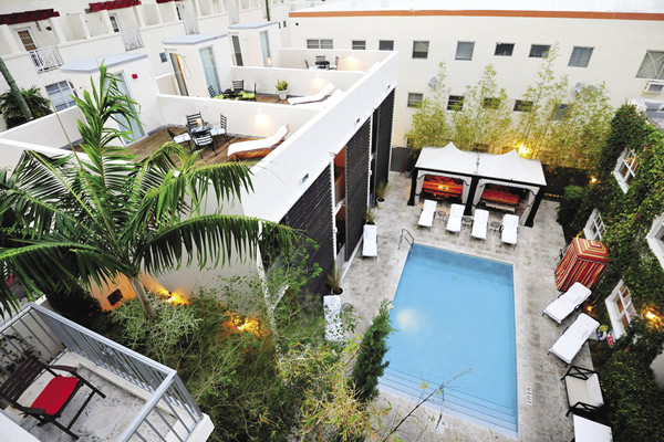 The intimate pool courtyard.