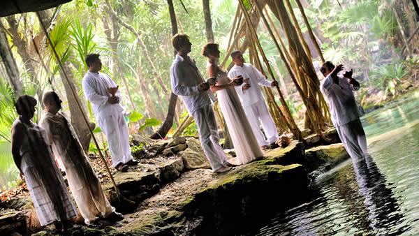 Mayan Ceremony in Riviera Maya cenote.
