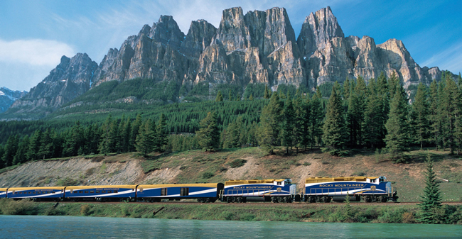 The Rocky Mountaineer heading past Castle Rock outside of Banff. (Photo courtesy of Rocky Mountaineer)