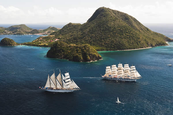 Royal Clipper sailing in the Caribbean