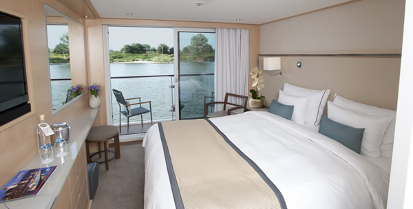 The 205 square-foot Veranda stateroom.