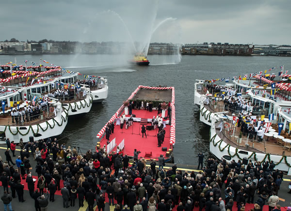 The celebration during the christening of the 10 Viking longships.
