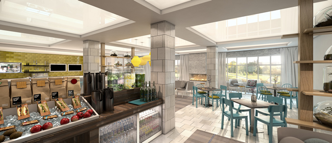 A rendering of the restaurant at EVEN Hotels.