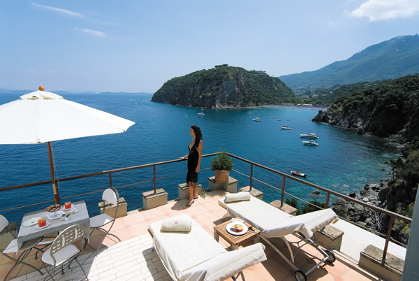 Bellevue Suite terrace at Mezzatorre Resort & Spa in Ischia, Italy.