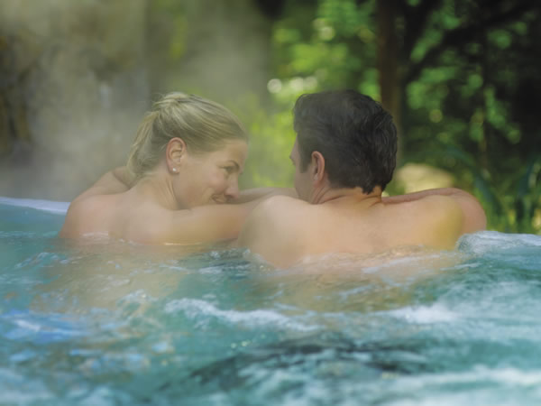 Intimate hot tub moment at Calistoga Ranch