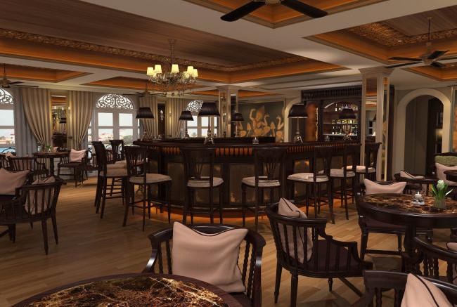 Le Salon Lounge on the Mekong Navigator.