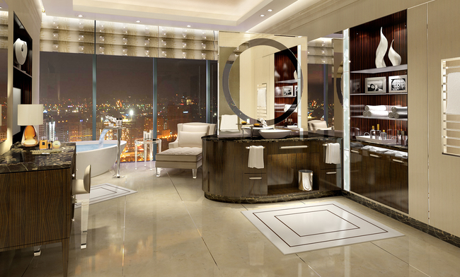 The presidential suite at the Fairmont Baku, Flame Towers in Azerbaijan. (Photo courtesy of Fairmont Hotels & Resorts.)
