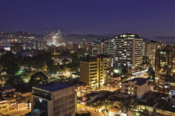 Nightime in cosmopolitan Guatemala City.