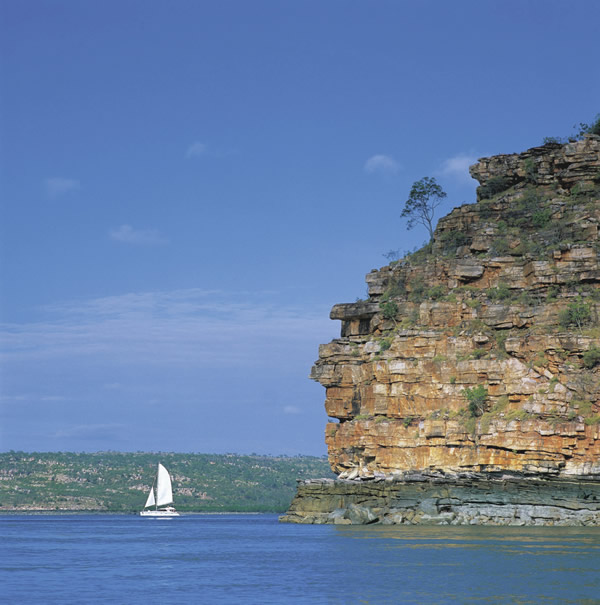 Sailing along the Prince Regent River on the Kimberley coastline