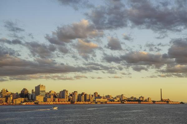 Sunset over the Guaiba River in Porto Alegre.