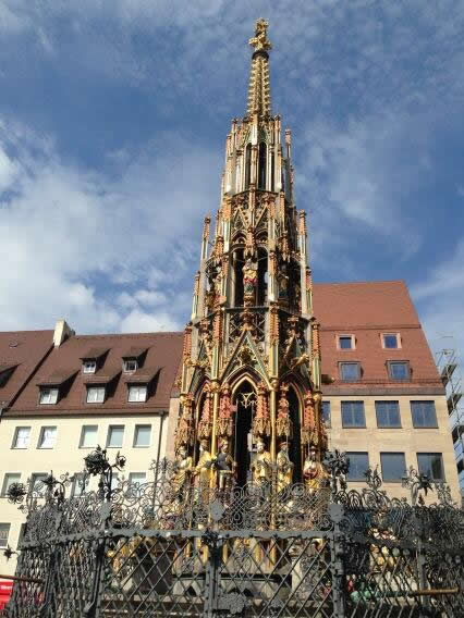 The fountain in Nuremberg's Altstadt, the historic part of the city.