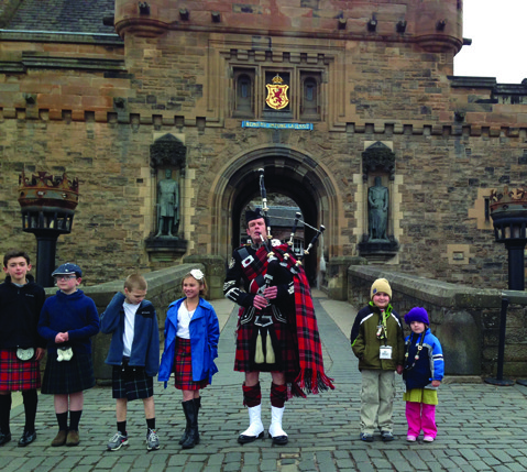At Edinburgh Castle in Scotland during the Adventures by Disney's Scotland: A Brave Adventure tour.