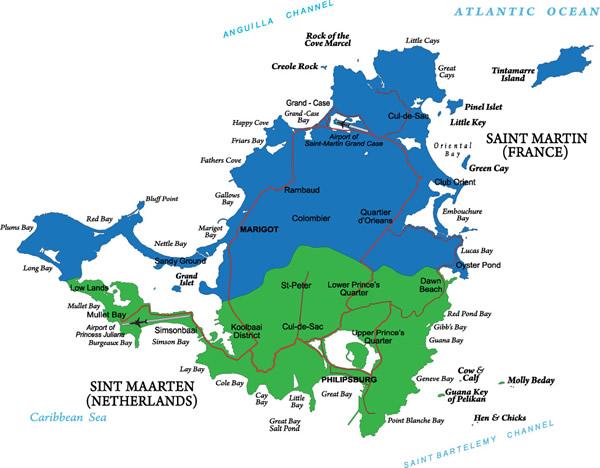 Map of St. Martin/St. Maarten