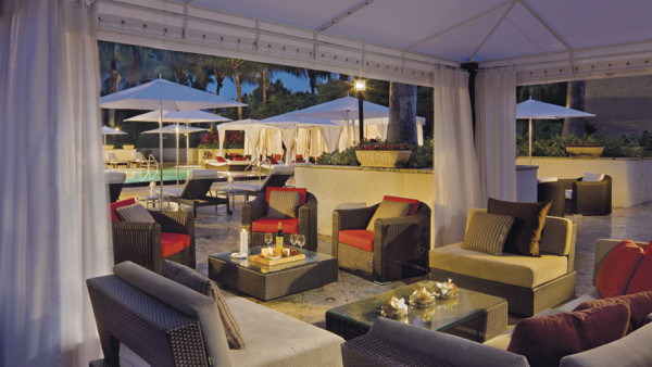 Poolside cabanas at The Ritz-Carlton Coconut Grove, Miami.