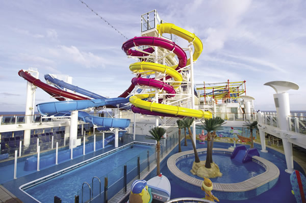 Aqua Park, the largest water park at sea.