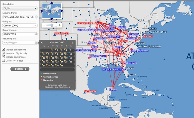 Delta Vacations Route Map
