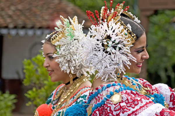 Traditional and colorful pollera dresses