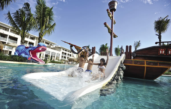 Waterslides are just one of the many kids-focused activities at Paradisus Playa del Carmen la Esmeralda.