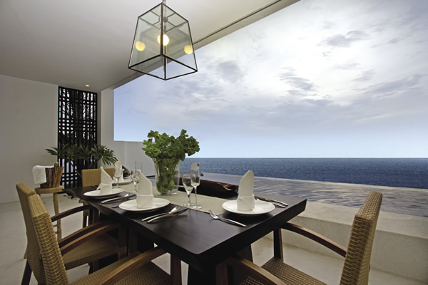 In-room villa dining at Montigo Resorts Nongsa in Indonesia.